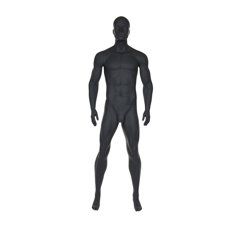 Mannequin homme de sport tête stylisée frp coloris gris graphite socle inclus (photo)