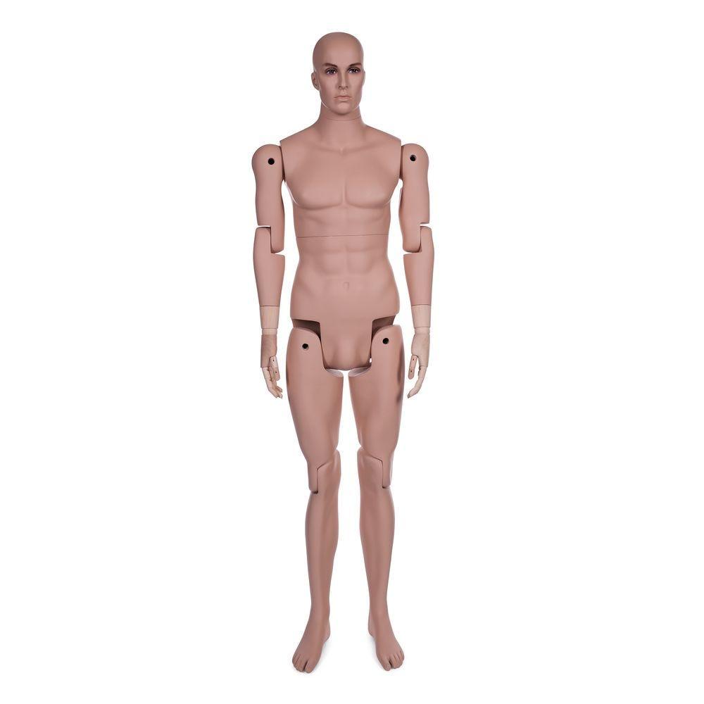 Mannequin homme tête réaliste complètement amovible couleur chair avec socle (photo)