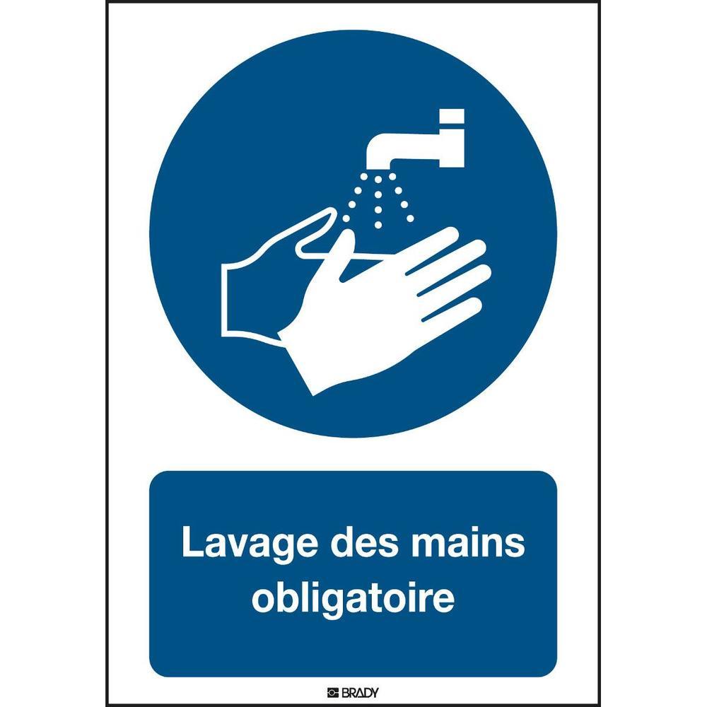 Panneau adhésif permanent acrylic Lavage des mains obligatoire Rectangle 210 ...