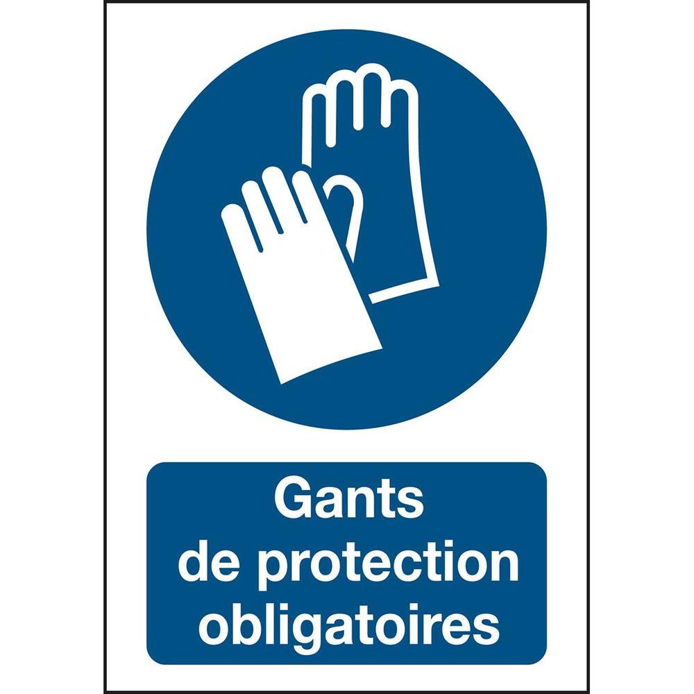 Panneau adhésif permanent acrylic Port de gants obligatoire Rectangle 210 x 2...