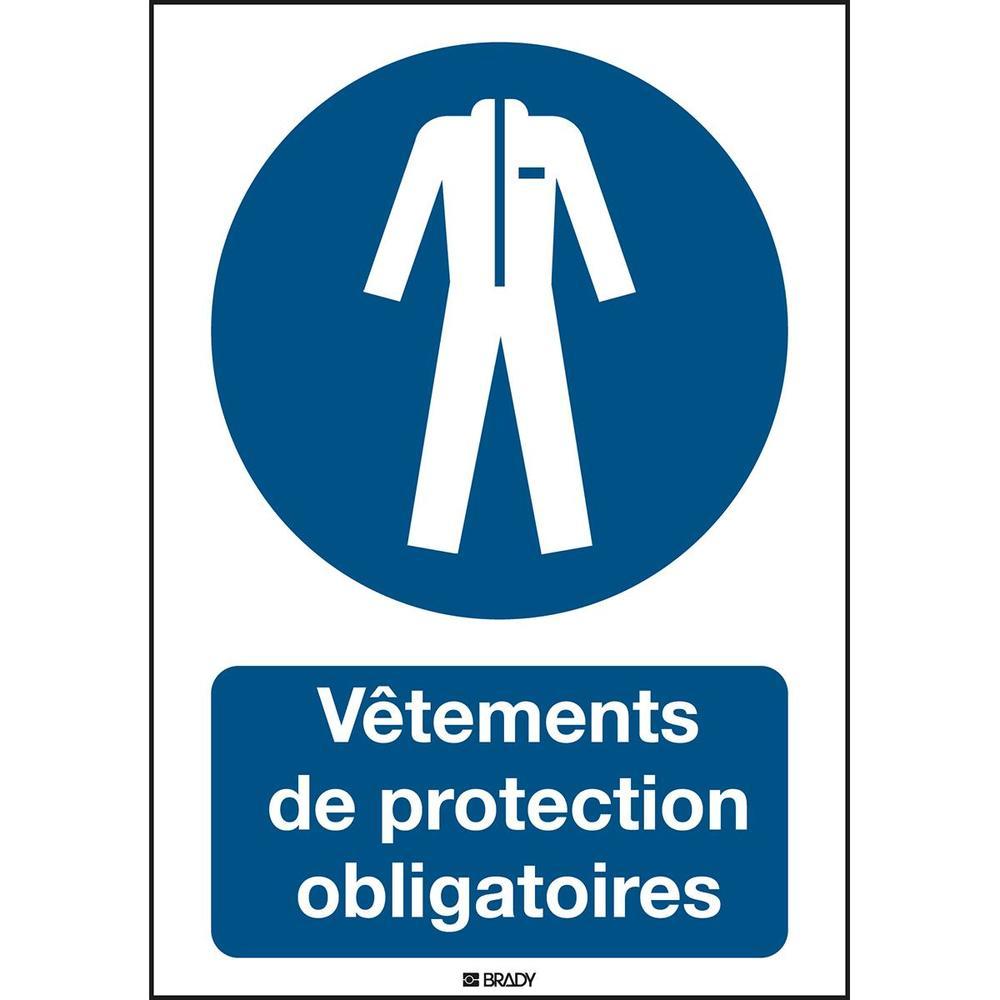 Panneau adhésif permanent acrylic Vêtements de protection obligatoires Rectan...