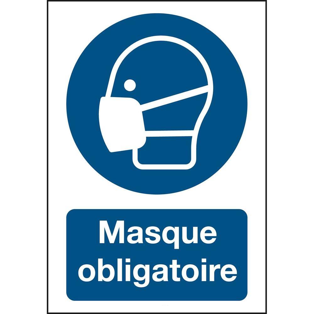 Panneau adhésif permanent acrylic masque obligatoire Rectangle 210 x 297 mm