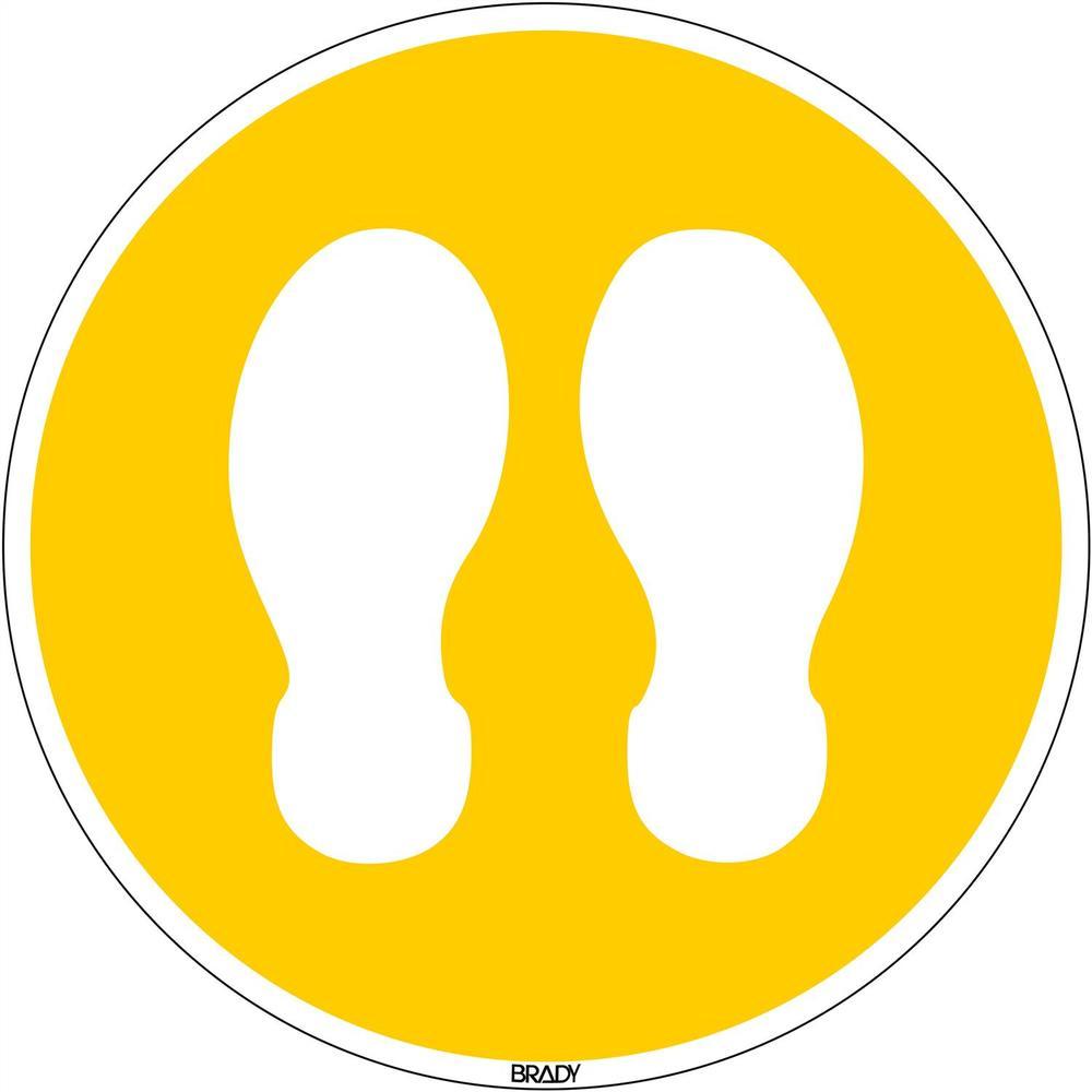 Panneau de marquage au sol Se tenir ici rond 350 mm jaune