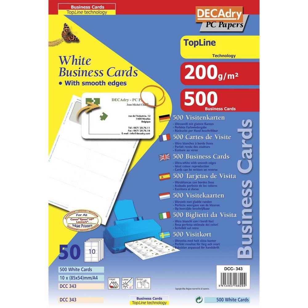Pochette 500 cartes de visite blanches topline - 200g 85 x 54 mm (photo)