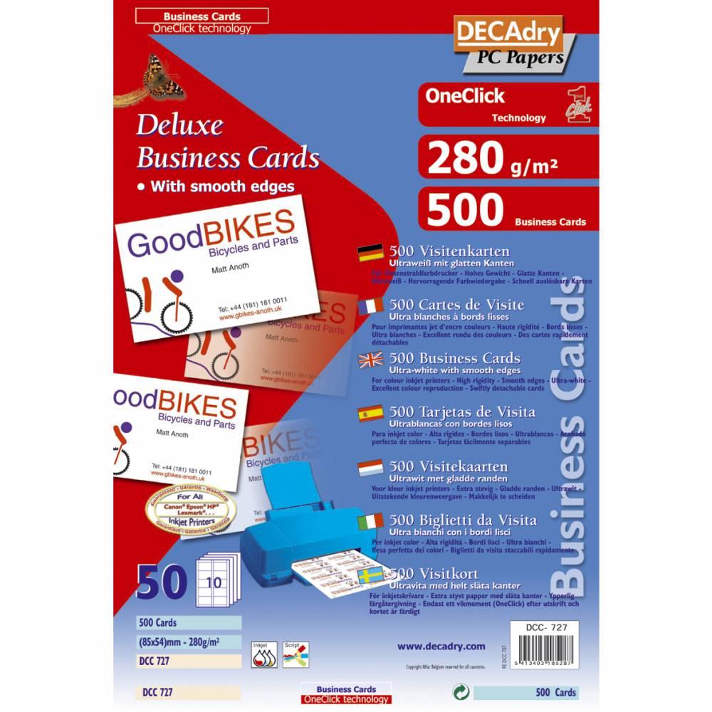 Pochette 500 cartes de visite blanches oneclick - 280g 85 x 54 mm (photo)