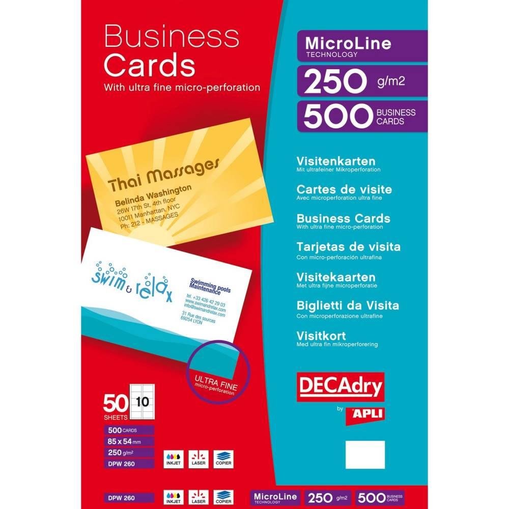 Pochette 500 cartes de visite blanches microline - 250g 85 x 54 mm (photo)
