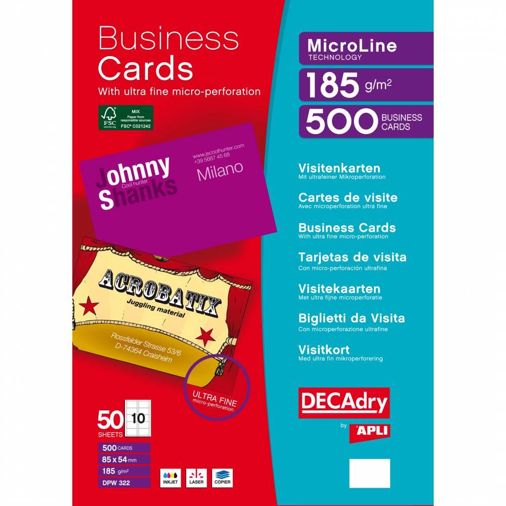 Pochette 500 cartes de visite blanches microline - 185g 85 x 54 mm