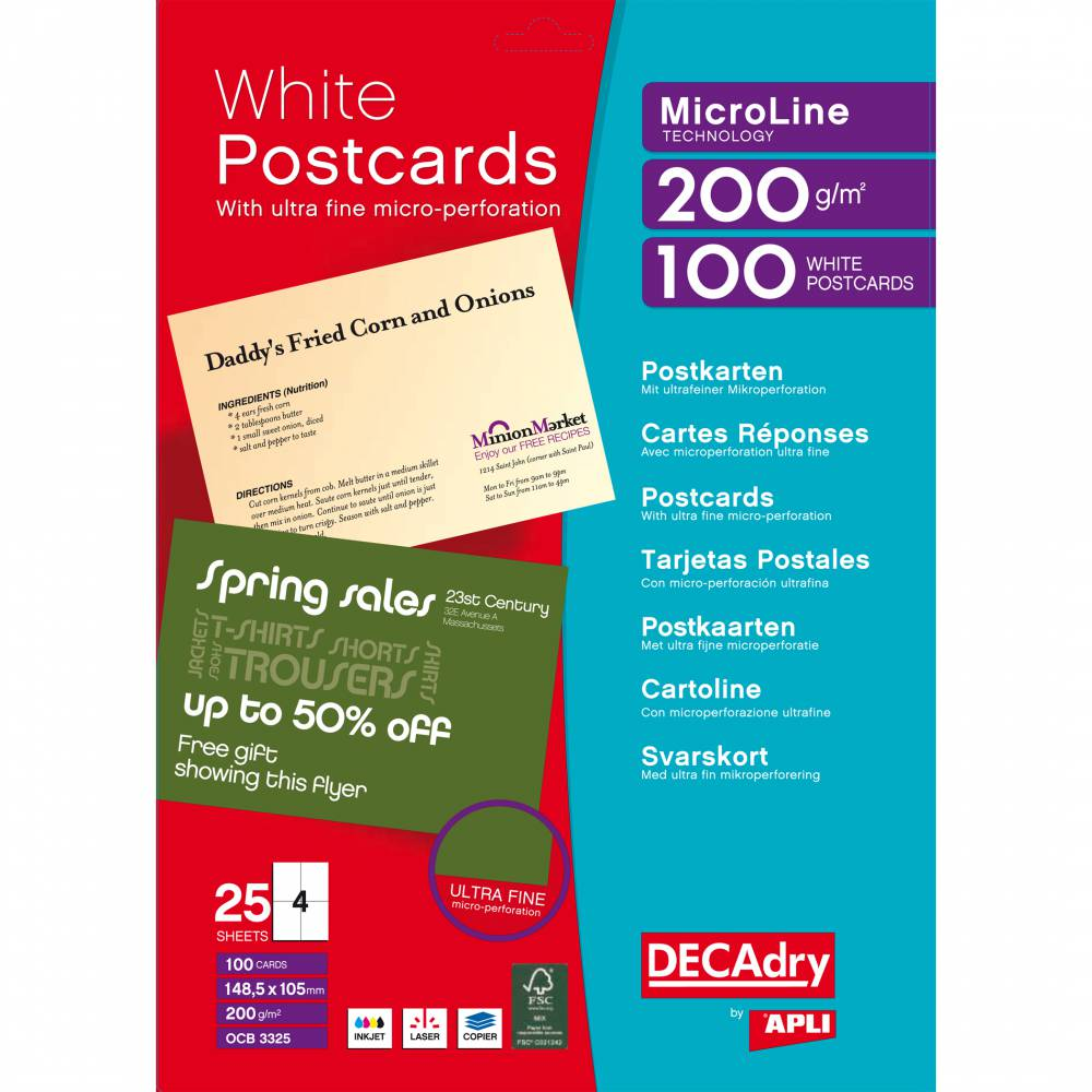 Pochette 100 cartes blanches microline - 200g 148,5 x 105 mm (photo)