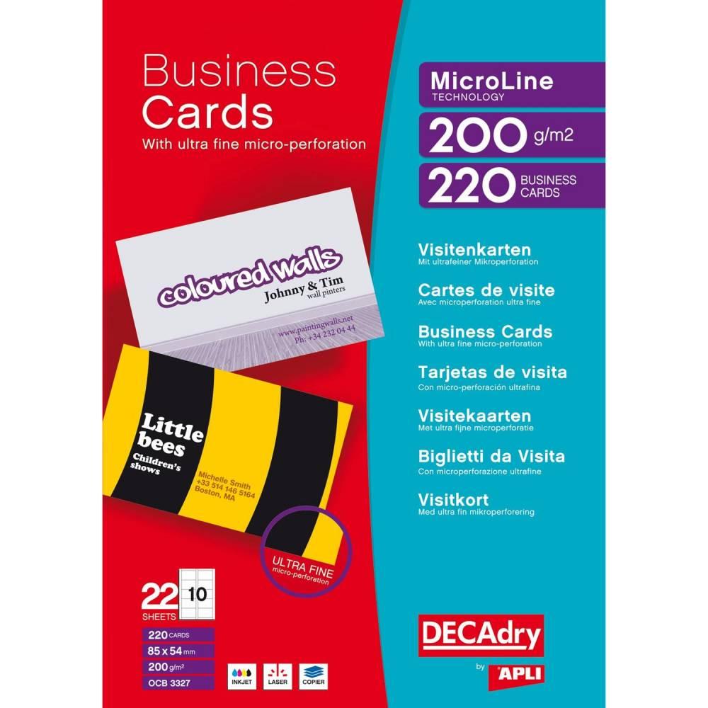 Pochette 220 cartes de visite blanches microline - 200g 85 x 54 mm