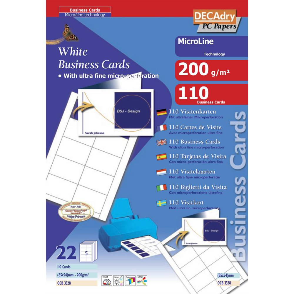 Pochette 110 double cartes blanches microline - 200g 85 x 54 mm (photo)
