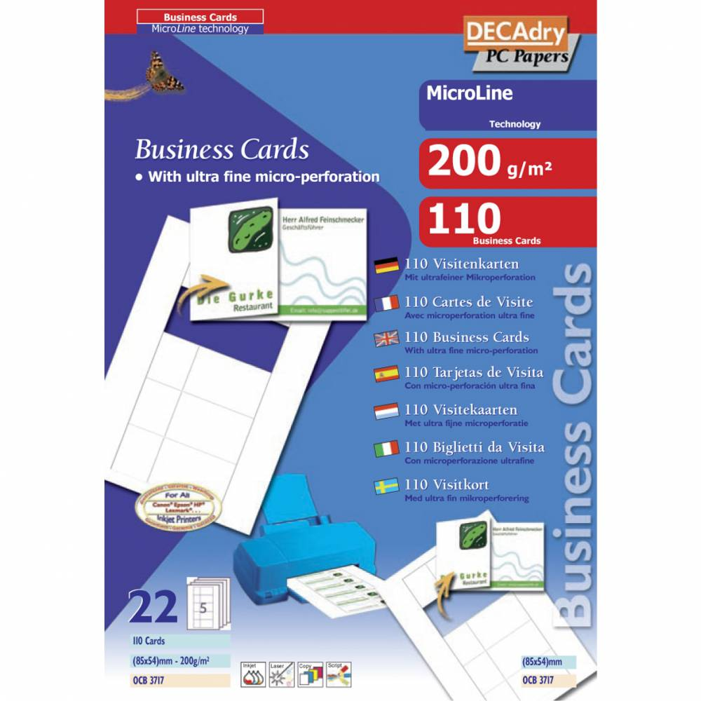 Pochette 110 cartes demi rabat blanches microline- 200g 85 x 54 mm (photo)