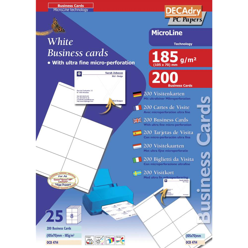 Pochette 200 cartes blanches microline - 185g 105 x 70 mm (photo)