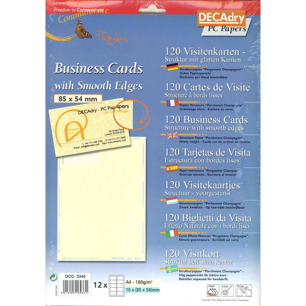 Pochette 120 cartes de visite pré-imprimées topline - 180g85 x 54 mm