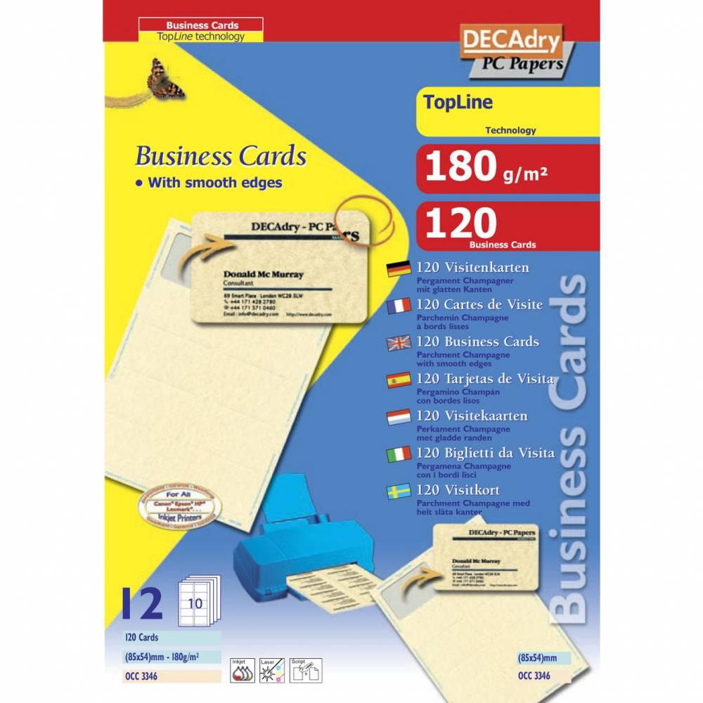 Pochette 120 cartes de visite pré-imprimées topline - 180g 85 x 54 mm
