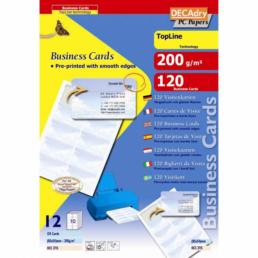 Pochette 120 cartes de visite pré-imprimées topline - 200g85 x 54 mm