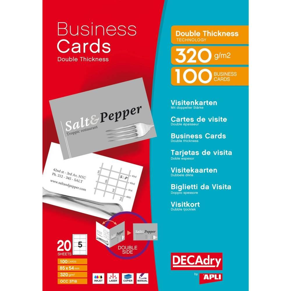 Pochette 100 cartes de visite blanches double thickness - 320g85 x 54 mm