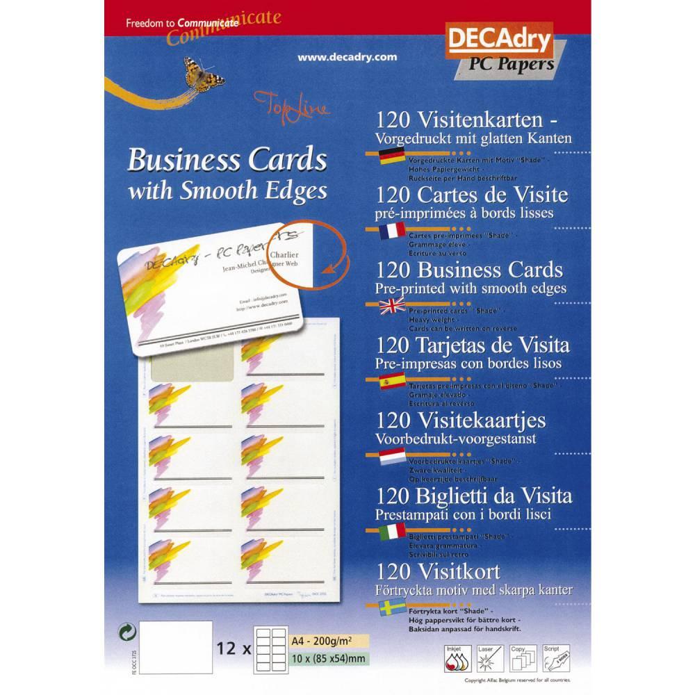 Pochette 120 cartes de visite pré-imprimées topline - 200g 85 x 54 mm