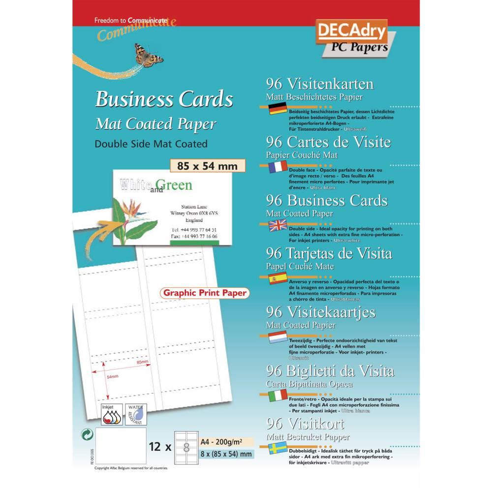 Pochette 96 cartes de visite blanches mates microline - 200g 85 x 54 mm (photo)