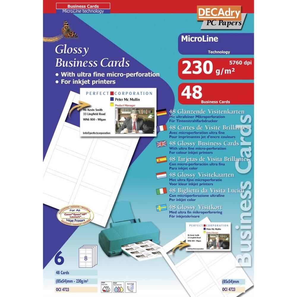 Pochette 48 cartes de visite blanches brillantes microline - 230g 85 x 54 mm