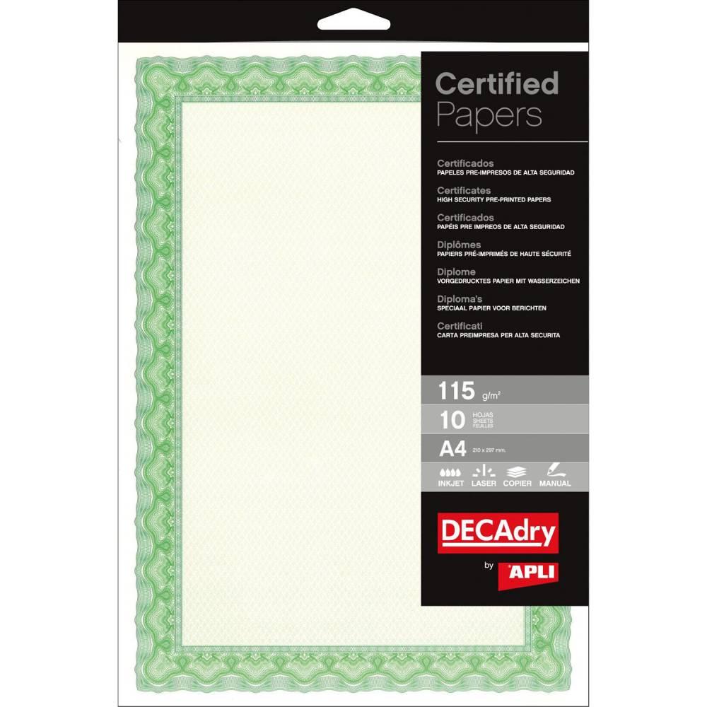 Papier de communication a4 115g 25 feuilles diplômes spiral vert (photo)