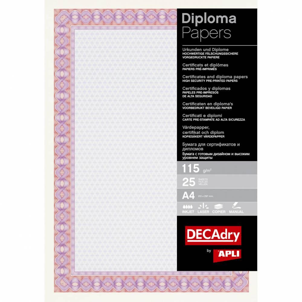Papier de communication a4 115g 25 feuilles diplômes rouge/pourpre (photo)