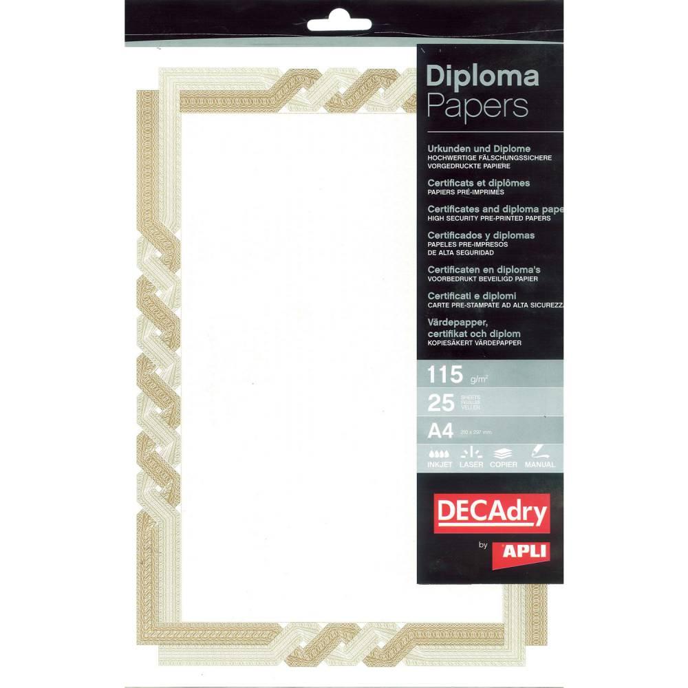 Papier de communication a4 115g 25 feuilles diplômes brun/beige (photo)