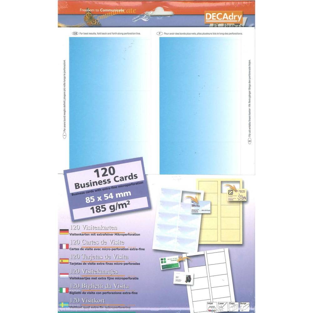 Pochette 120 cartes de visite pré-imprimées microline - 185g 85 x 54 mm