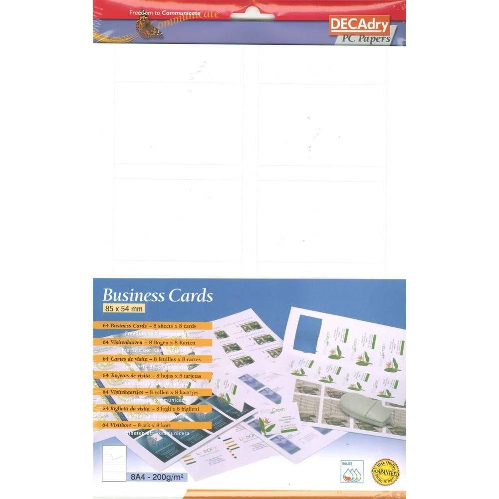 Pochette 64 cartes de visite blanches mates microline - 200g 85 x 54 mm (photo)