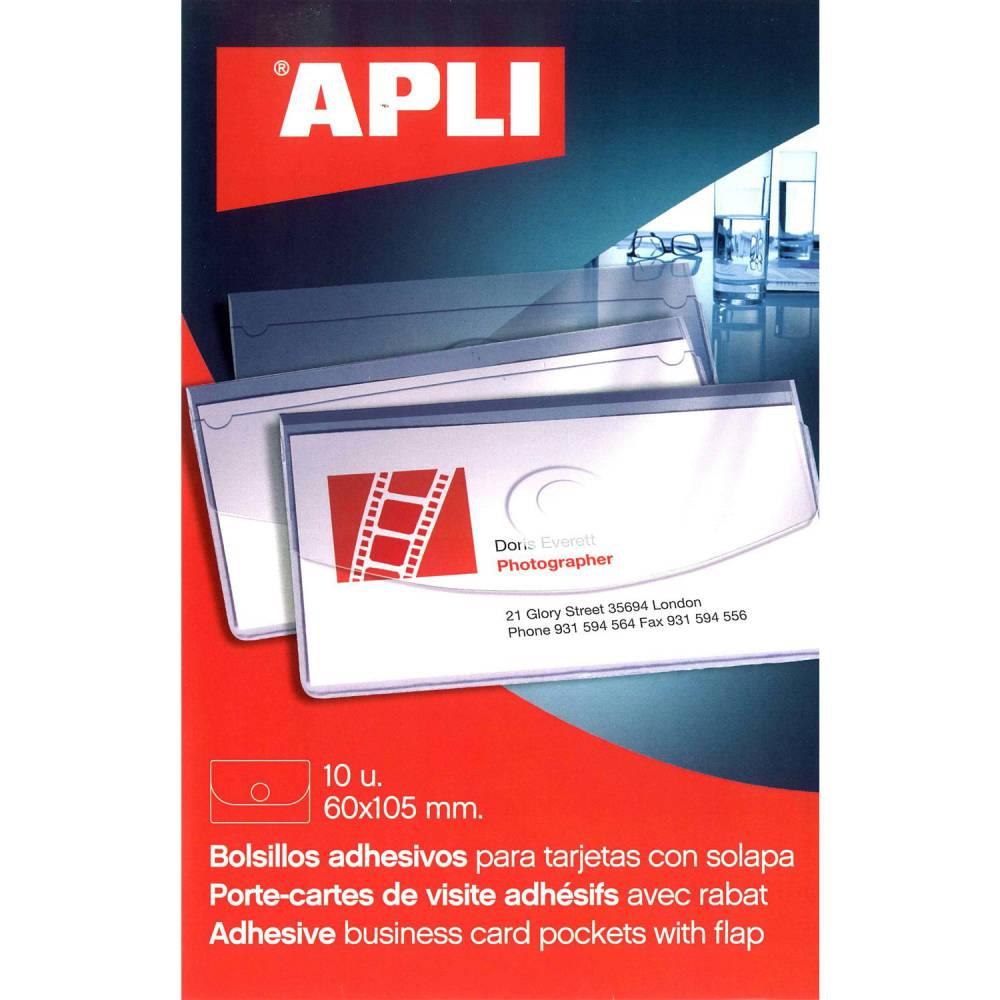Pochette 10 porte-cartes de visite adhésifs avec rabat 60 x 105 mm (photo)