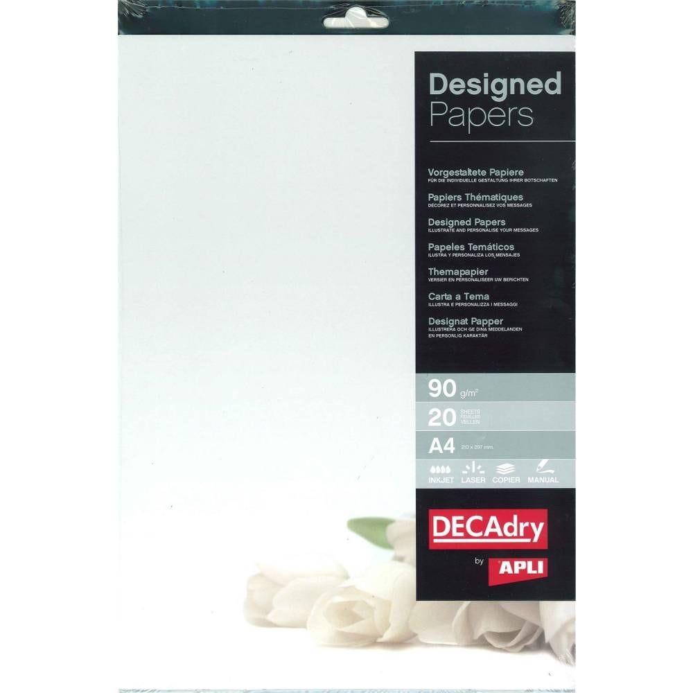 Pack 20 feuilles illustrées fleurs blanches a4 (photo)