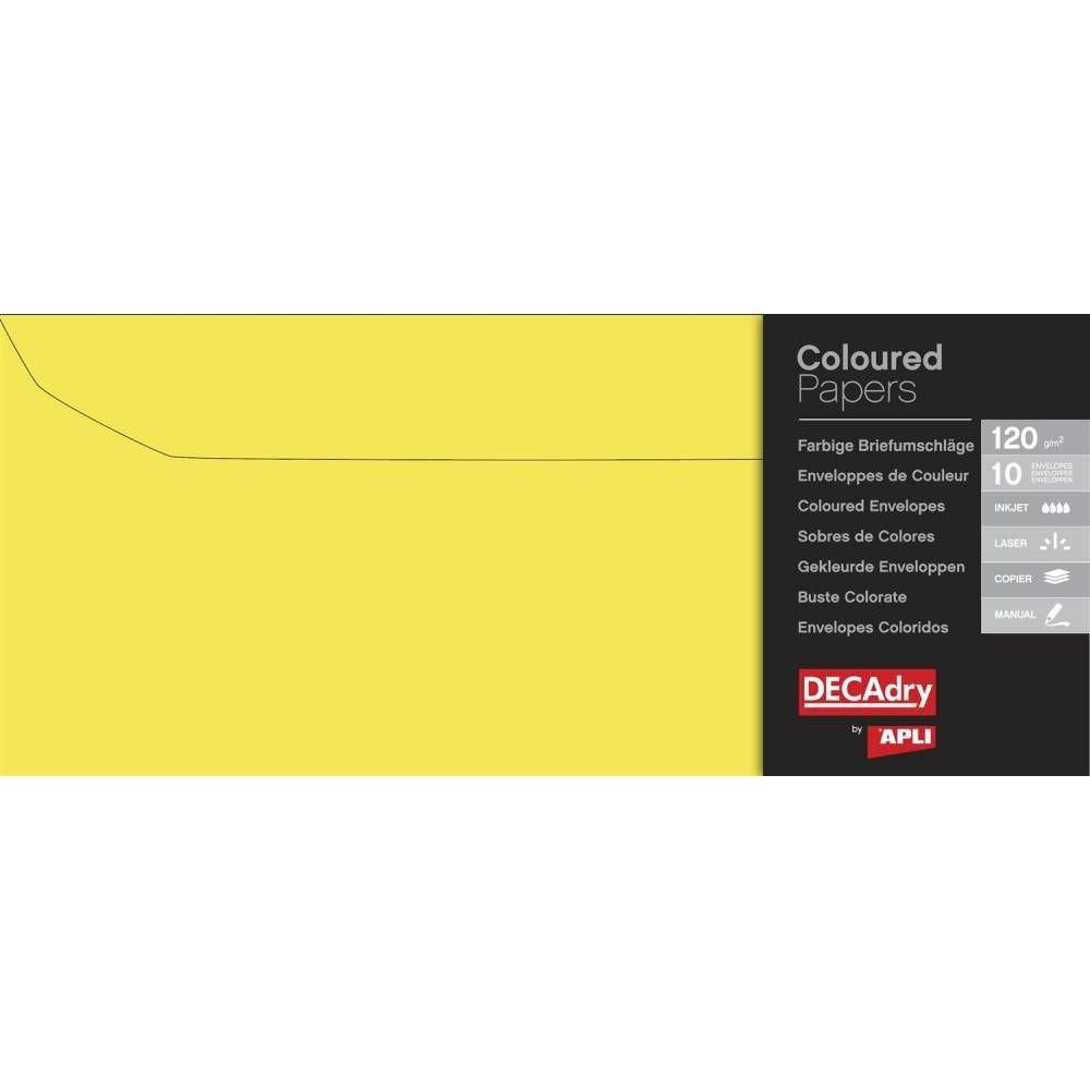 Pochette 10 enveloppes jaune vif110 x 220 mm