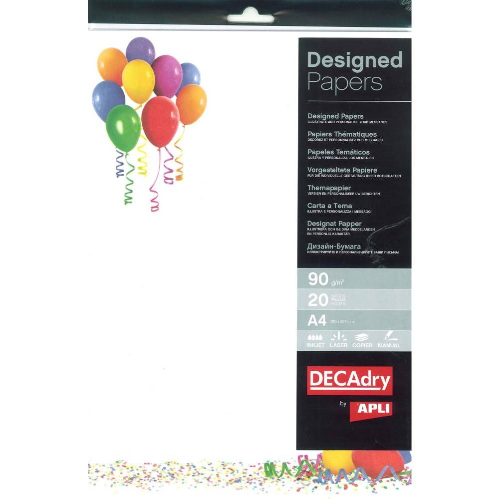 Pack 20 feuilles illustrées ballons a4 (photo)