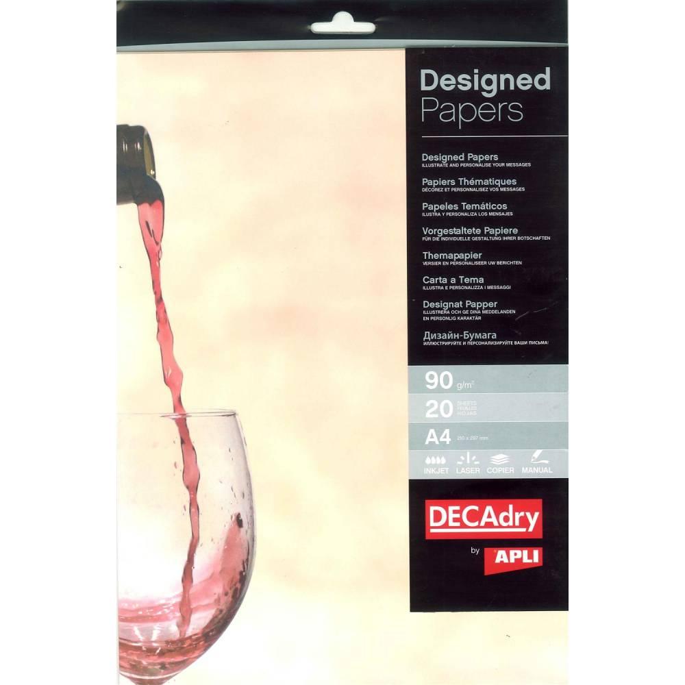 Pack 20 feuilles illustrées verre de vin a4 (photo)