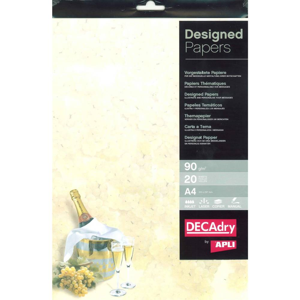 Pack 20 feuilles illustrées champagnea4 (photo)