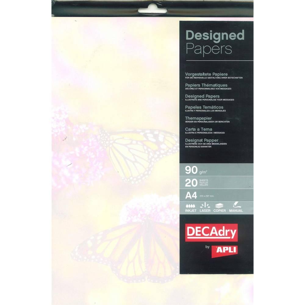 Pack 20 feuilles illustrées jardin des papillons a4 (photo)