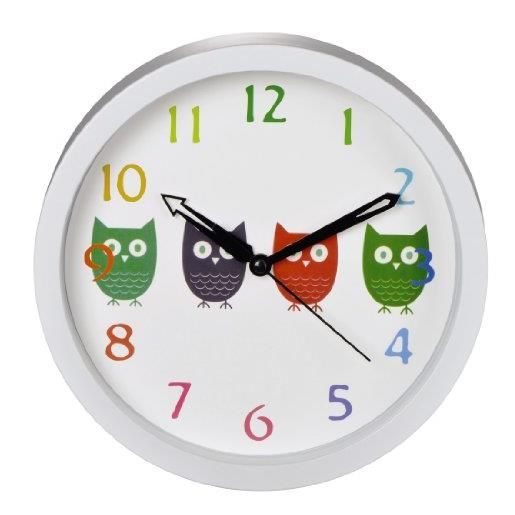 Horloge murale enfant diamètre 20 cm modèle hiboux (photo)