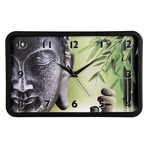 Horloge murale buddha bambus mécanisme silencieux h 20,5 x l 32,5 cm (photo)