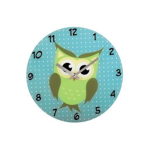 Horloge murale chouette modèle silencieux en verre (photo)
