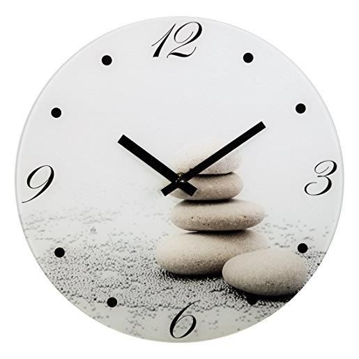Horloge murale pierre silencieux 30 cm en verre (photo)
