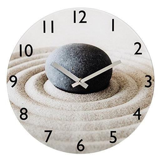 Horloge murale sable et pierre silencieuse en verre 30 cm (photo)