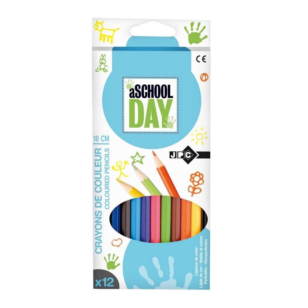 Boite de 12 crayons de couleur 18 cm assortis (photo)