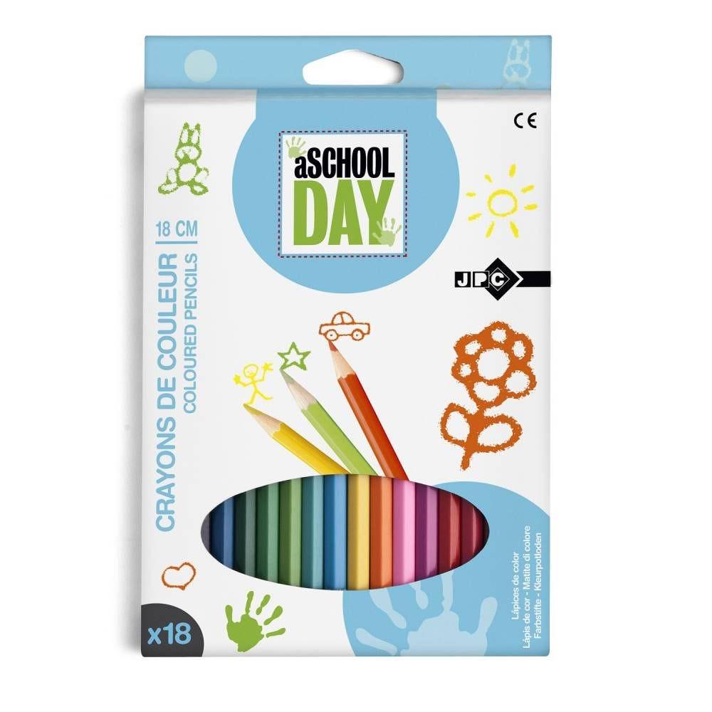 Boite de 18 crayons de couleur 18 cm assortis (photo)