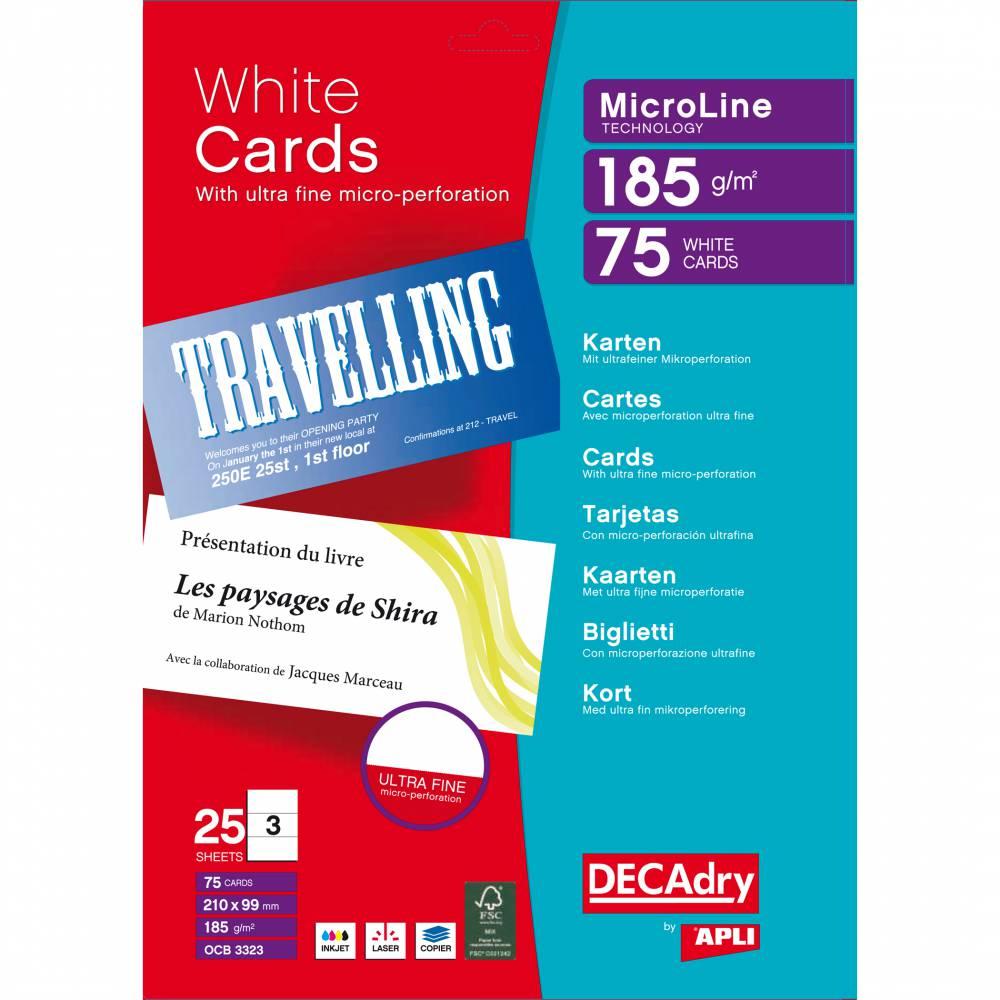 Pochette 75 cartes de visite blanches microline - 185g 210 x 99 mm (photo)