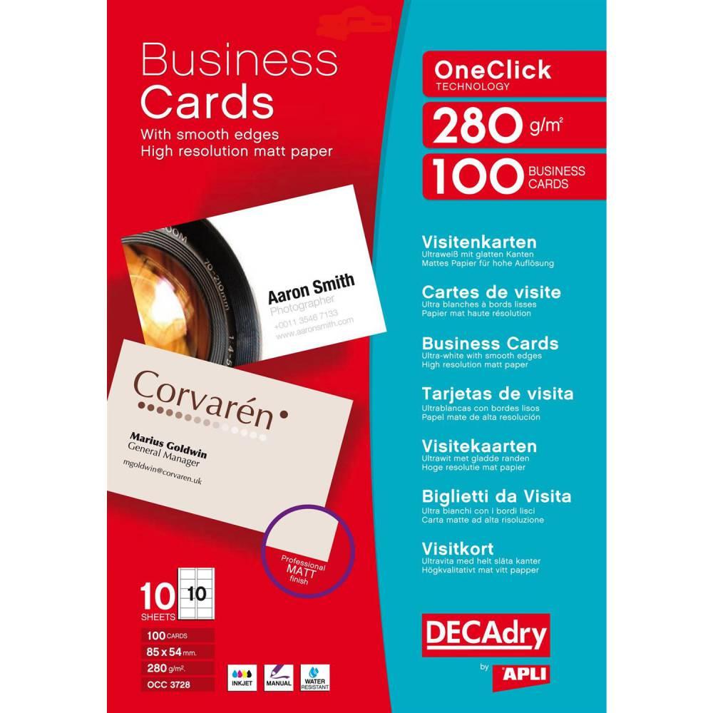 Pochette 100 cartes de visite blanches mates oneclick - 280g85 x 54 mm