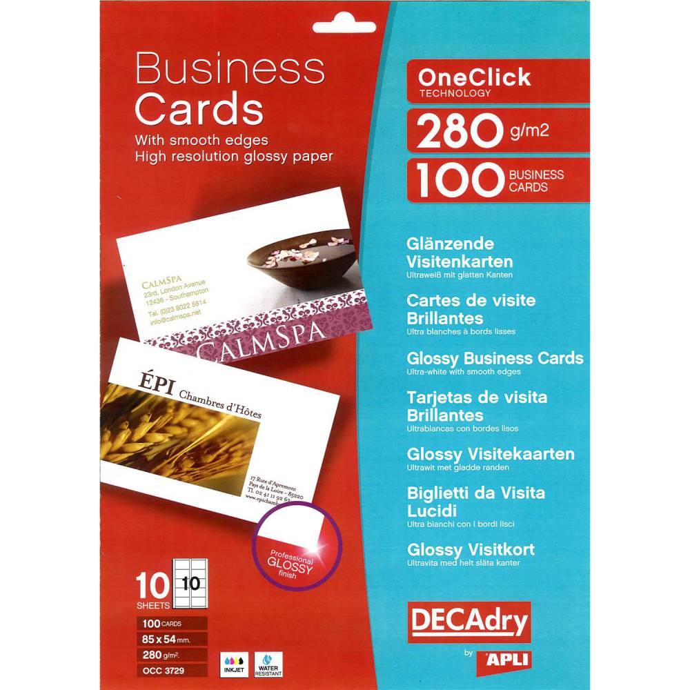 Pochette 100 cartes de visite blanches brillantes oneclick - 280g85 x 54 mm