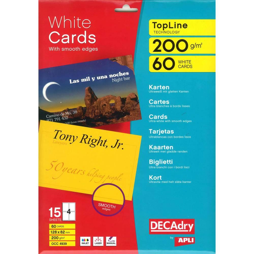 Pochette 60 cartes de visite blanches topline - 200g 128 x 82 mm (photo)