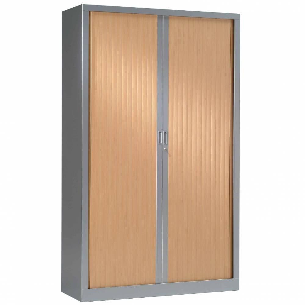 Armoire monobloc h198xl100xp43 cm 4 tab. Aluminium rideaux hêtre