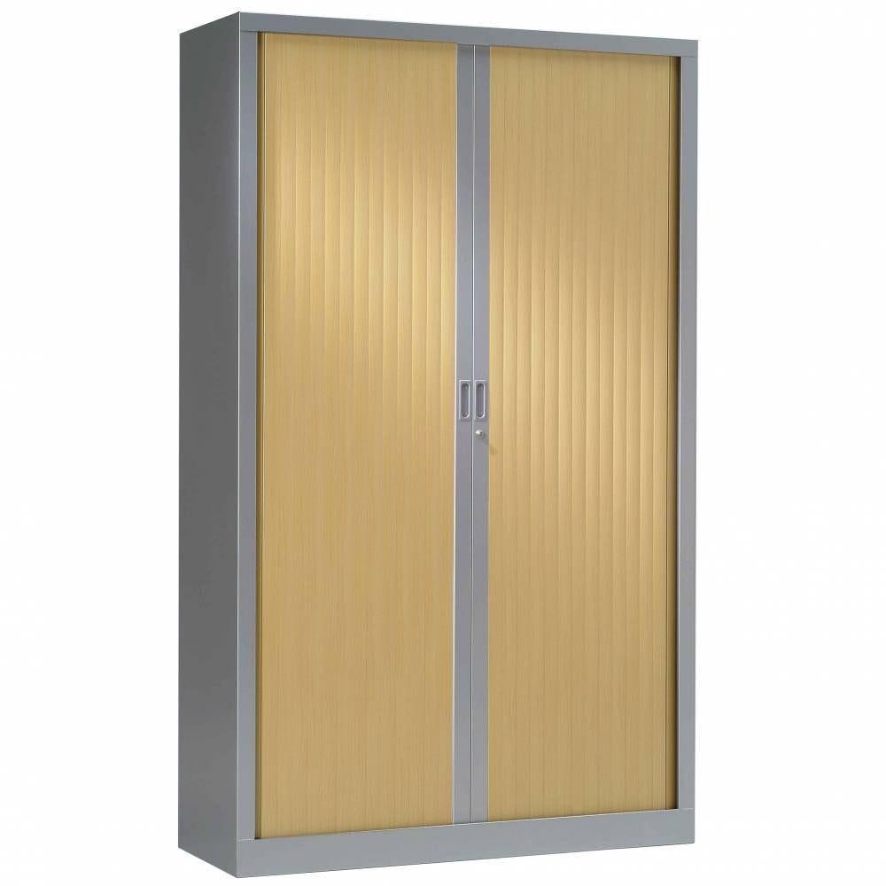 Armoire monobloc h198xl100xp43 cm 4 tab. Aluminium rideaux chêne clair