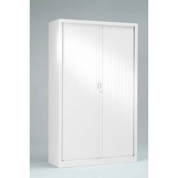 Armoire monobloc h198xl 80xp43 cm 4 tab. Blanc rideaux blanc