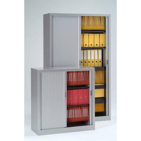 Armoire monobloc h198xl 80xp43 cm 4 tab. Gris rideaux gris